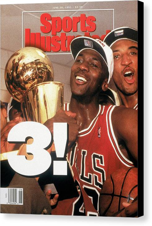 Magazine Cover Canvas Print featuring the photograph Chicago Bulls Michael Jordan, 1993 Nba Finals Sports Illustrated Cover by Sports Illustrated
