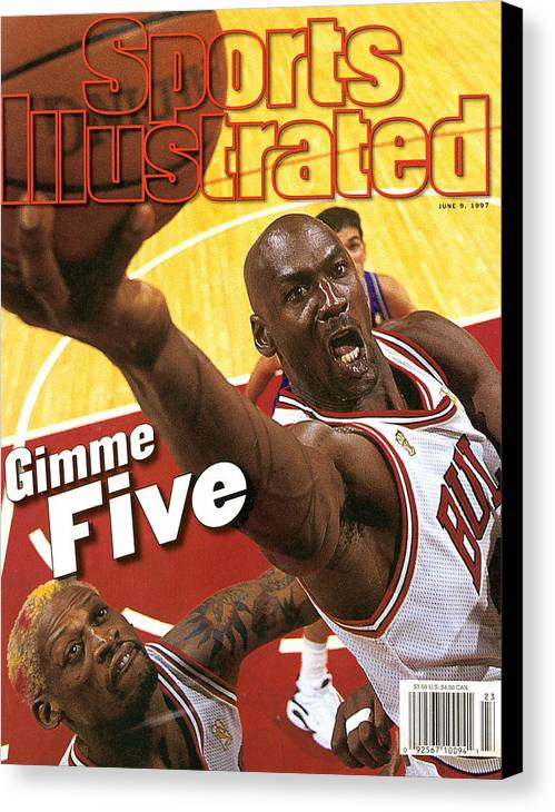 Magazine Cover Canvas Print featuring the photograph Chicago Bulls Michael Jordan, 1997 Nba Finals Sports Illustrated Cover by Sports Illustrated