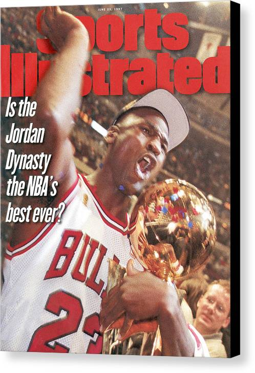 Magazine Cover Canvas Print featuring the photograph Chicago Bulls Michael Jordan, 1997 Nba Finals Sports Illustrated Cover by Sports Illustrated