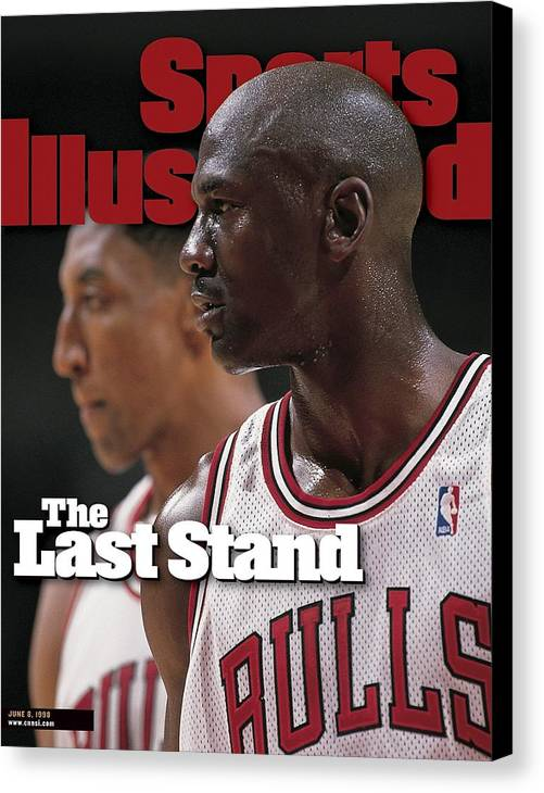 Playoffs Canvas Print featuring the photograph Chicago Bulls Michael Jordan And Scottie Pippen, 1998 Nba Sports Illustrated Cover by Sports Illustrated