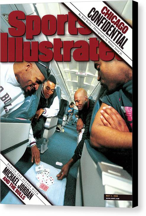 Magazine Cover Canvas Print featuring the photograph Chicago Confidential Behind The Scenes With Michael Jordan Sports Illustrated Cover by Sports Illustrated