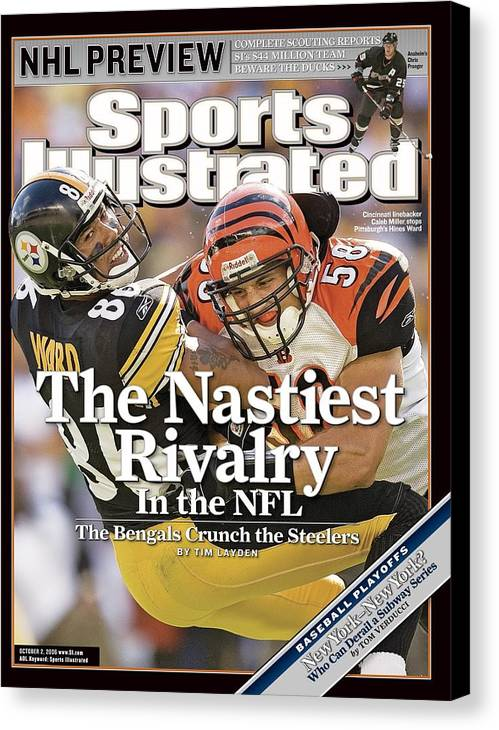 Magazine Cover Canvas Print featuring the photograph Cincinnati Bengals Caleb Miller... Sports Illustrated Cover by Sports Illustrated