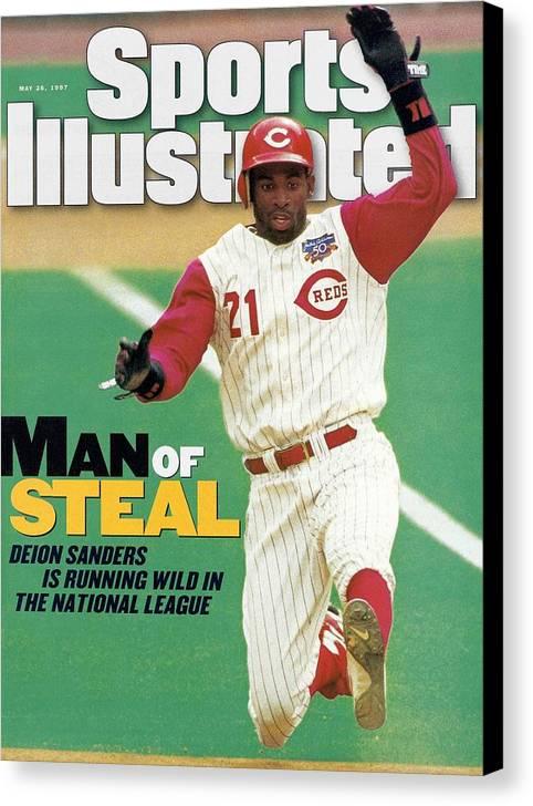 Magazine Cover Canvas Print featuring the photograph Cincinnati Reds Deion Sanders... Sports Illustrated Cover by Sports Illustrated