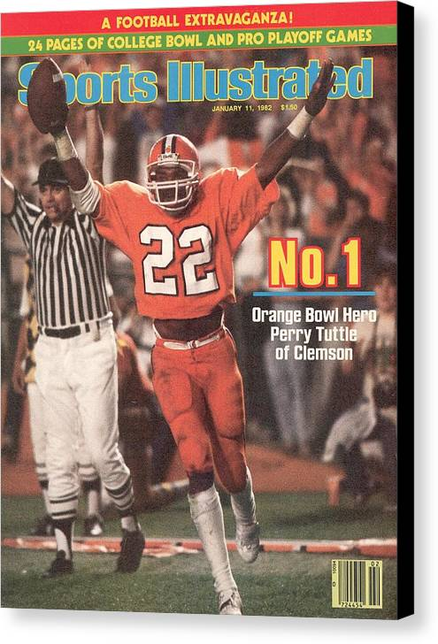 1980-1989 Canvas Print featuring the photograph Clemson University Perry Tuttle, 1982 Orange Bowl Sports Illustrated Cover by Sports Illustrated
