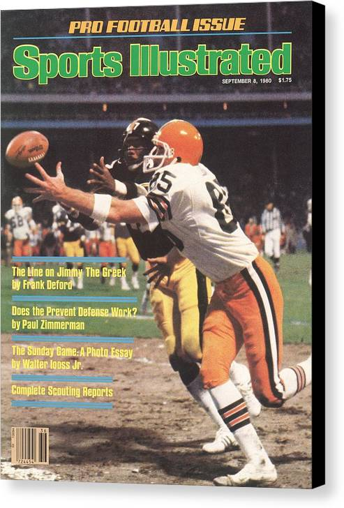 Catching Canvas Print featuring the photograph Cleveland Browns Dave Logan And Pittsburgh Steelers Mel Sports Illustrated Cover by Sports Illustrated