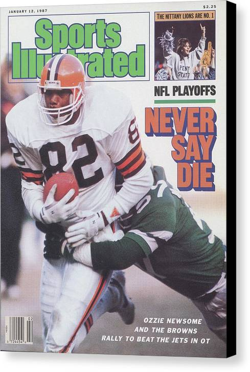 Playoffs Canvas Print featuring the photograph Cleveland Browns Ozzie Newsome, 1987 Afc Divisional Playoffs Sports Illustrated Cover by Sports Illustrated