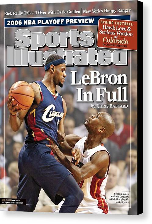 Nba Pro Basketball Canvas Print featuring the photograph Cleveland Cavaliers LeBron James... Sports Illustrated Cover by Sports Illustrated