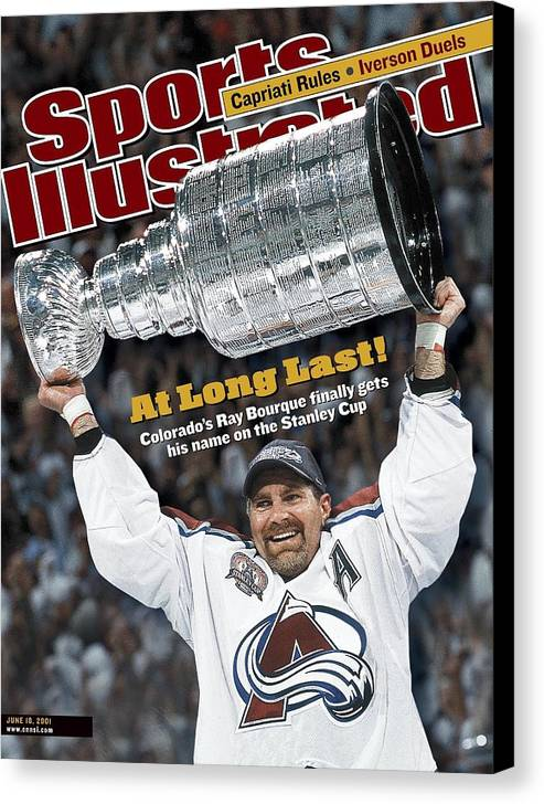 Magazine Cover Canvas Print featuring the photograph Colorado Avalanche Ray Bourque, 2001 Nhl Stanley Cup Finals Sports Illustrated Cover by Sports Illustrated
