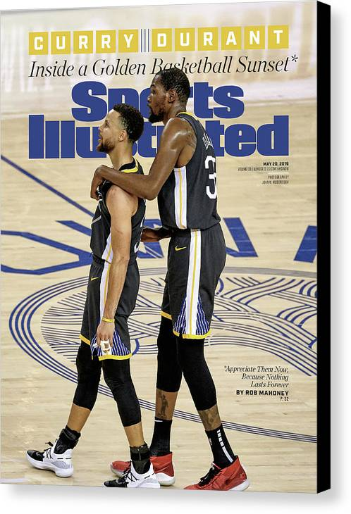 Magazine Cover Canvas Print featuring the photograph Curry Durant Inside A Golden Basketball Sunset Sports Illustrated Cover by Sports Illustrated