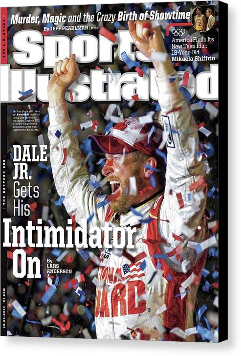 Magazine Cover Canvas Print featuring the photograph Dale Jr. Gets His Intimidator On Sports Illustrated Cover by Sports Illustrated