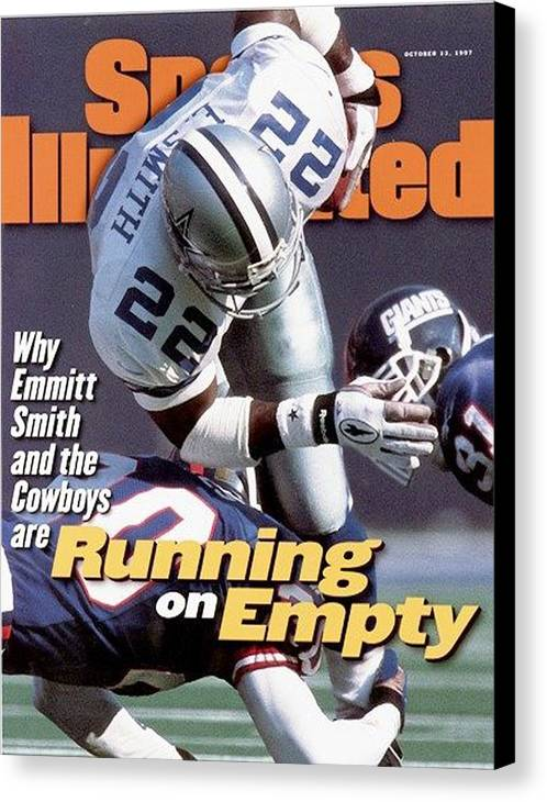 Magazine Cover Canvas Print featuring the photograph Dallas Cowboys Emmitt Smith... Sports Illustrated Cover by Sports Illustrated