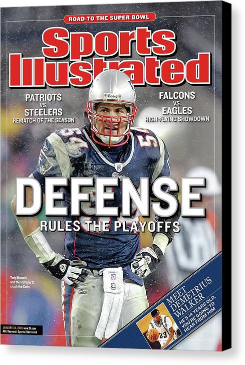 Magazine Cover Canvas Print featuring the photograph Defense Rules The Playoffs Road To The Super Bowl Sports Illustrated Cover by Sports Illustrated