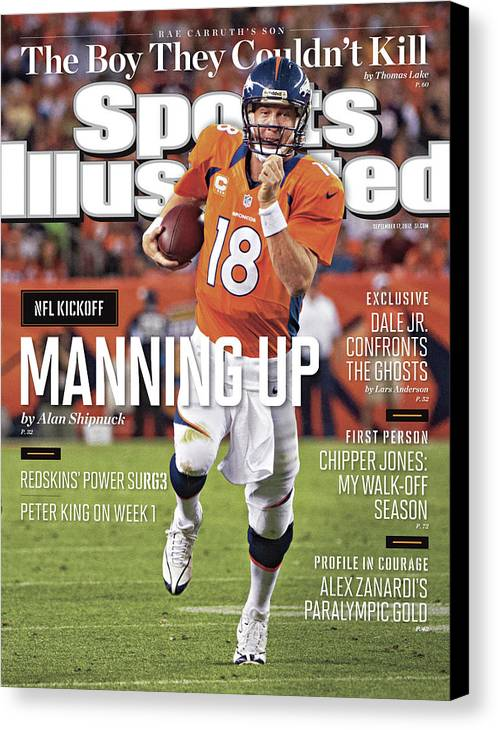 Magazine Cover Canvas Print featuring the photograph Denver Broncos Vs Pittsburgh Steelers Sports Illustrated Cover by Sports Illustrated