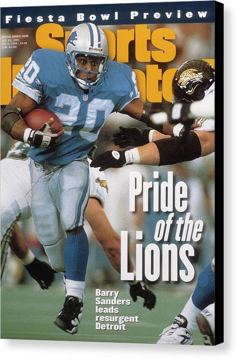 Magazine Cover Canvas Print featuring the photograph Detroit Lions Barry Sanders... Sports Illustrated Cover by Sports Illustrated