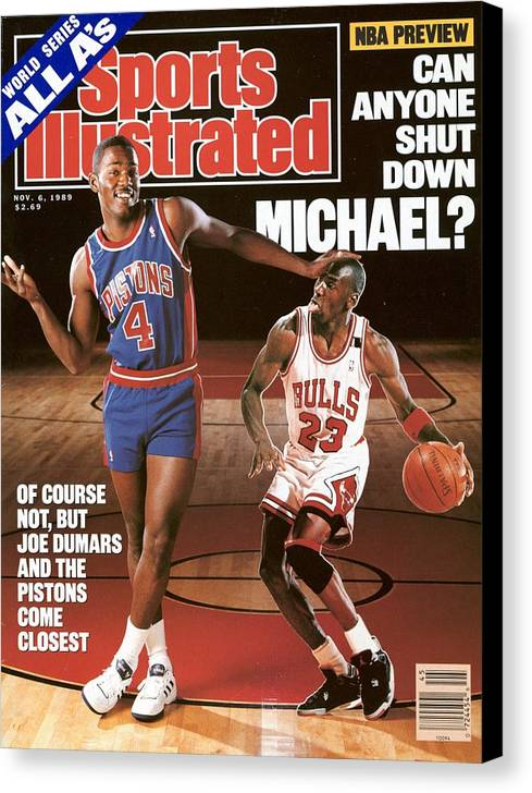 Magazine Cover Canvas Print featuring the photograph Detroit Pistons Joe Dumars, 1989 Nba Basketball Preview Sports Illustrated Cover by Sports Illustrated