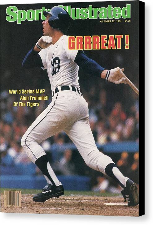 Magazine Cover Canvas Print featuring the photograph Detroit Tigers Alan Trammell, 1984 World Series Sports Illustrated Cover by Sports Illustrated