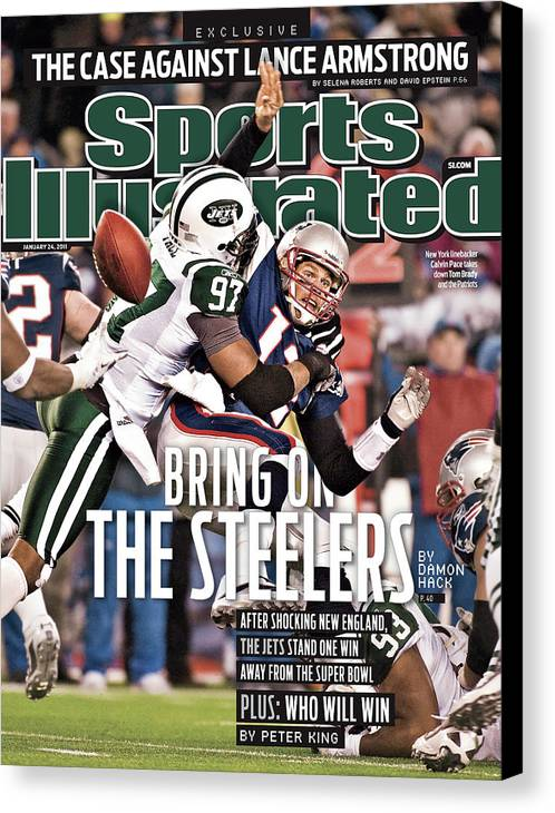 Magazine Cover Canvas Print featuring the photograph Divisional Playoffs - New York Jets V New England Patriots Sports Illustrated Cover by Sports Illustrated