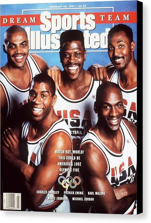 The Olympic Games Canvas Print featuring the photograph Dream Team, 1992 Barcelona Olympic Games Preview Sports Illustrated Cover by Sports Illustrated
