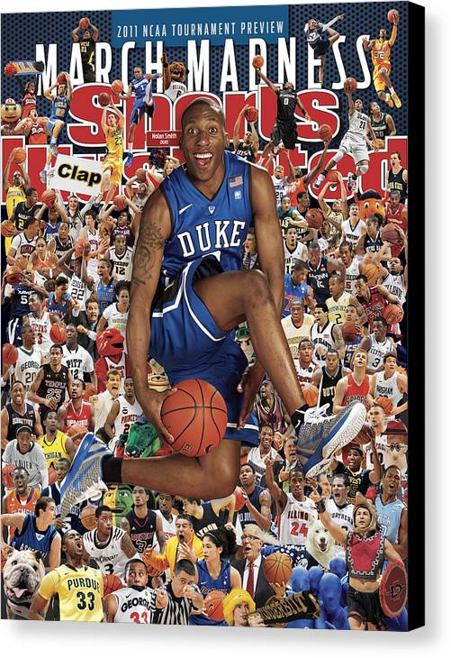 North Carolina Canvas Print featuring the photograph Duke University Nolan Smith, 2011 March Madness College Sports Illustrated Cover by Sports Illustrated