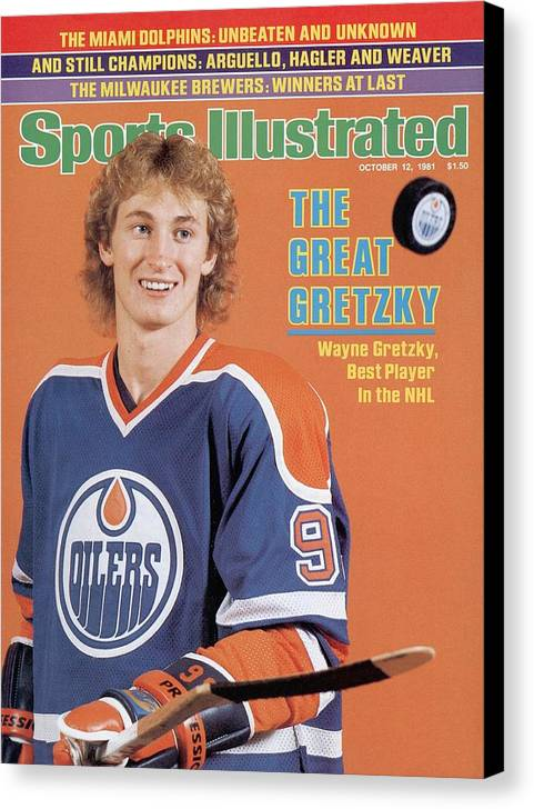 Magazine Cover Canvas Print featuring the photograph Edmonton Oilers Wayne Gretzky Sports Illustrated Cover by Sports Illustrated