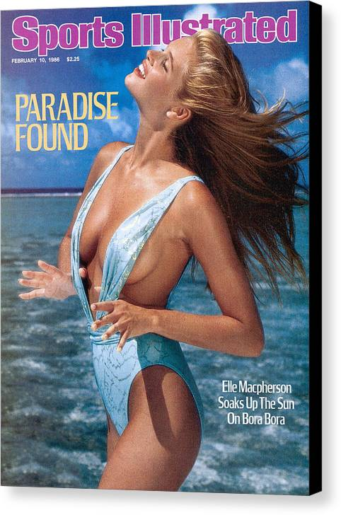 1980-1989 Canvas Print featuring the photograph Elle Macpherson Swimsuit 1986 Sports Illustrated Cover by Sports Illustrated