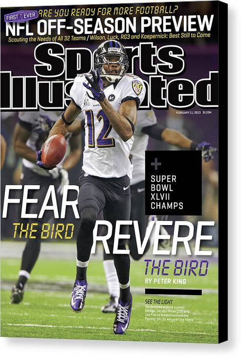 Magazine Cover Canvas Print featuring the photograph Fear The Bird, Revere The Bird Super Bowl Xlvii Champs Sports Illustrated Cover by Sports Illustrated
