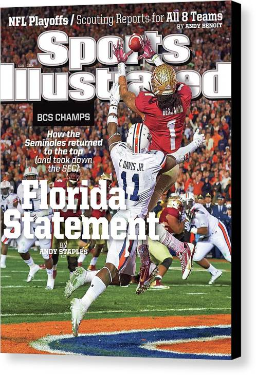 Magazine Cover Canvas Print featuring the photograph Florida Statement 2013 Bcs Champion Sports Illustrated Cover by Sports Illustrated