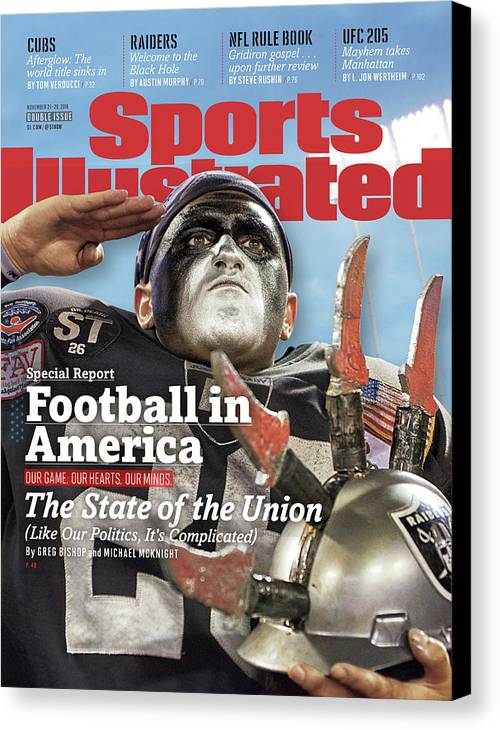 Magazine Cover Canvas Print featuring the photograph Football In America The State Of The Union Sports Illustrated Cover by Sports Illustrated
