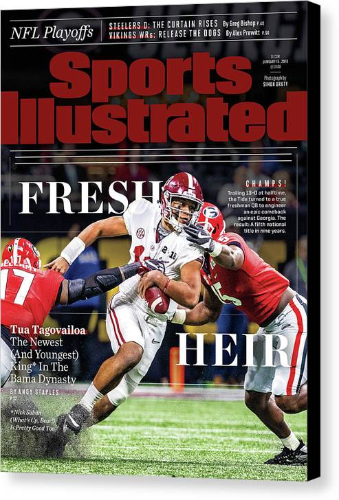 Atlanta Canvas Print featuring the photograph Fresh Heir Tua Tagovailoa, The Newest And Youngest King* In Sports Illustrated Cover by Sports Illustrated
