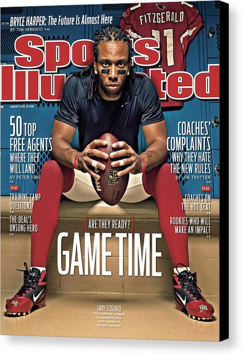 Larry Fitzgerald Canvas Print featuring the photograph Gametime Are They Ready Sports Illustrated Cover by Sports Illustrated