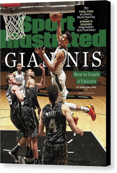 Magazine Cover Canvas Print featuring the photograph Giannis How To Coach A Unicorn Sports Illustrated Cover by Sports Illustrated