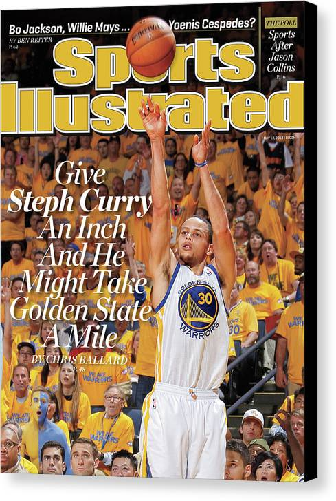 Magazine Cover Canvas Print featuring the photograph Give Steph Curry An Inch And He Might Take Golden State A Sports Illustrated Cover by Sports Illustrated