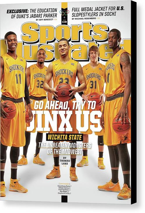 Magazine Cover Canvas Print featuring the photograph Go Ahead, Try To Jinx Us. Wichita State The Unbeaten Sports Illustrated Cover by Sports Illustrated