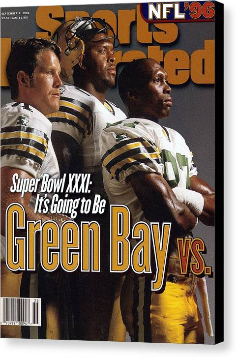 Green Bay Canvas Print featuring the photograph Green Bay Packers, 1996 Nfl Football Preview Issue Sports Illustrated Cover by Sports Illustrated