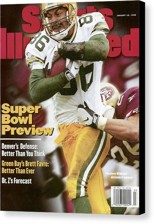 Candlestick Park Canvas Print featuring the photograph Green Bay Packers Antonio Freeman, 1998 Nfc Championship Sports Illustrated Cover by Sports Illustrated