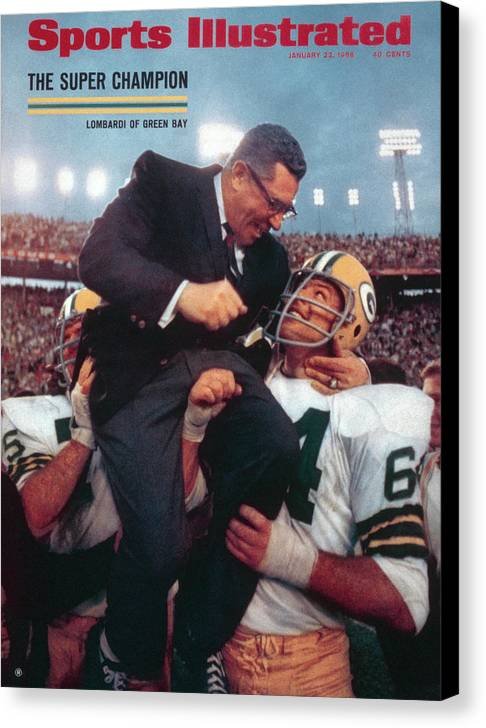 Magazine Cover Canvas Print featuring the photograph Green Bay Packers Coach Vince Lombardi, Super Bowl II Sports Illustrated Cover by Sports Illustrated