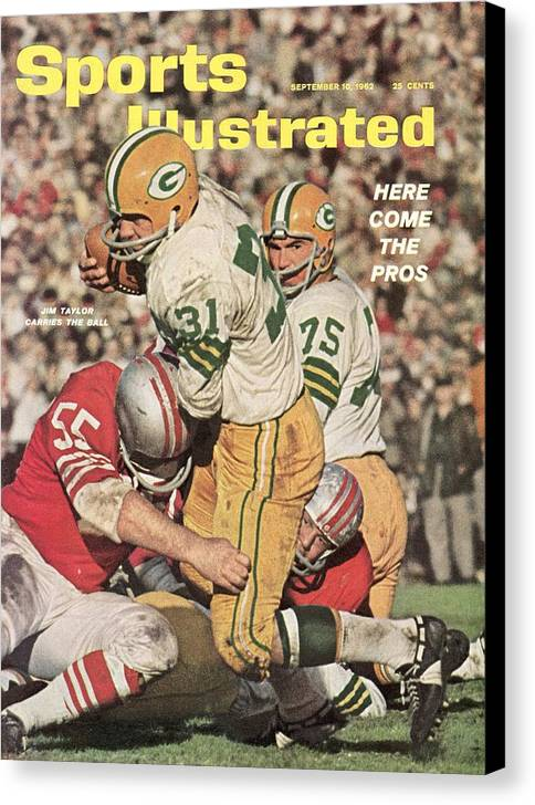 Magazine Cover Canvas Print featuring the photograph Green Bay Packers Jim Taylor And Forrest Gregg Sports Illustrated Cover by Sports Illustrated