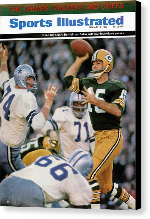 Making Canvas Print featuring the photograph Green Bay Packers Qb Bart Starr, 1967 Nfl Championship Sports Illustrated Cover by Sports Illustrated