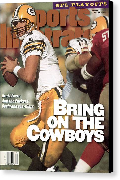 Candlestick Park Canvas Print featuring the photograph Green Bay Packers Qb Brett Favre, 1996 Nfc Divisional Sports Illustrated Cover by Sports Illustrated