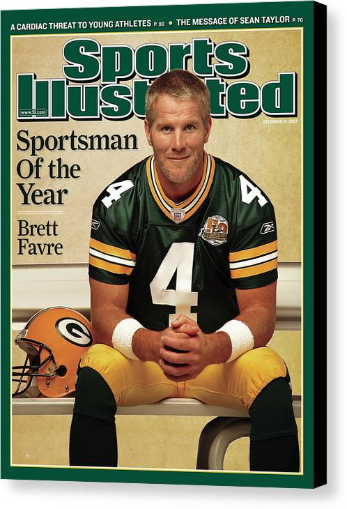 Magazine Cover Canvas Print featuring the photograph Green Bay Packers Qb Brett Favre, 2007 Sportsman Of The Year Sports Illustrated Cover by Sports Illustrated
