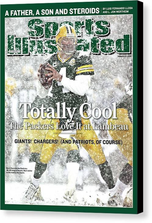 Playoffs Canvas Print featuring the photograph Green Bay Packers Qb Brett Favre, 2008 Nfc Divisional Sports Illustrated Cover by Sports Illustrated