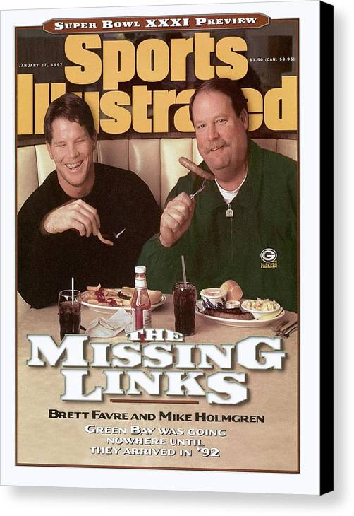 Green Bay Canvas Print featuring the photograph Green Bay Packers Qb Brett Favre And Coach Mike Holmgren Sports Illustrated Cover by Sports Illustrated