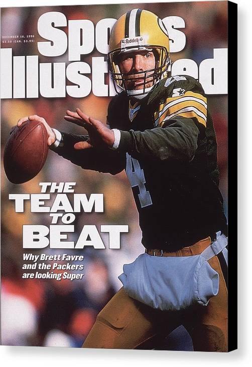 Brett Favre Canvas Print featuring the photograph Green Bay Packers Qb Brett Favre... Sports Illustrated Cover by Sports Illustrated