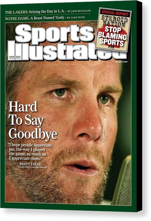 Magazine Cover Canvas Print featuring the photograph Green Bay Packers Qb Brett Favre, March 17, 2008 Sports Sports Illustrated Cover by Sports Illustrated