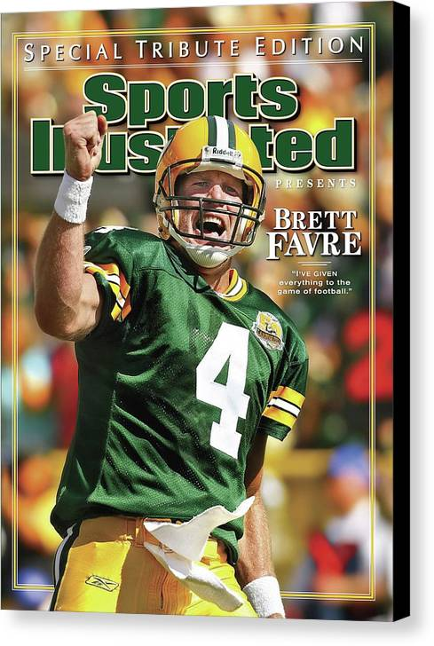 Green Bay Canvas Print featuring the photograph Green Bay Packers Qb Brett Favre Special Tribute Edition Sports Illustrated Cover by Sports Illustrated