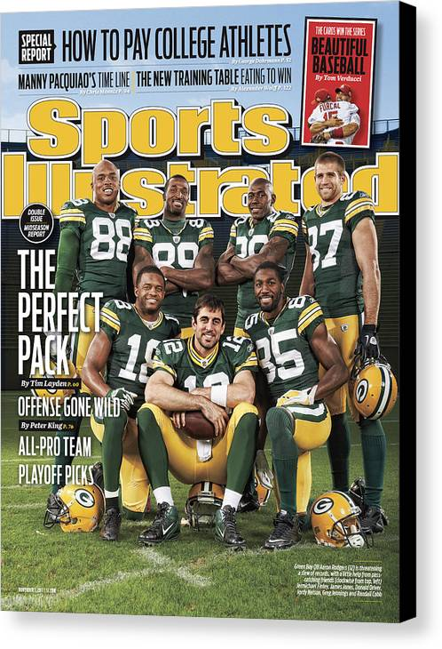 Green Bay Canvas Print featuring the photograph Green Bay Packers The Perfect Pack Sports Illustrated Cover by Sports Illustrated