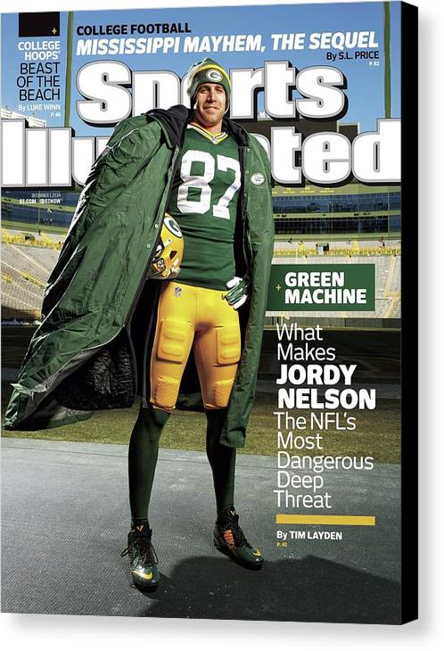 Green Bay Canvas Print featuring the photograph Green Machine What Makes Jordy Nelson The Nfls Most Sports Illustrated Cover by Sports Illustrated