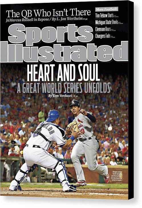 Magazine Cover Canvas Print featuring the photograph Heart And Soul A Great World Series Unfolds Sports Illustrated Cover by Sports Illustrated
