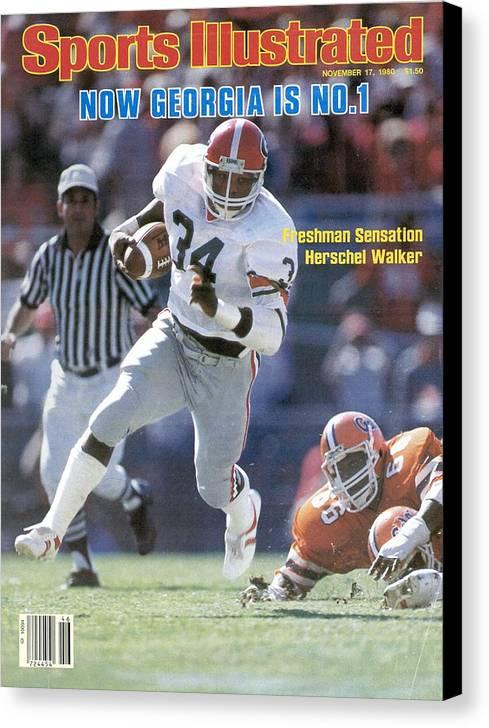 Magazine Cover Canvas Print featuring the photograph Herschel Walker, November 17, 1980 Sports Illustrated Cover Sports Illustrated Cover by Sports Illustrated