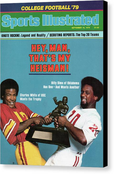 Season Canvas Print featuring the photograph Hey, Man, Thats My Heisman 1979 College Football Preview Sports Illustrated Cover by Sports Illustrated
